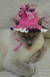 Touca crochê para gato