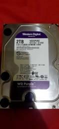 Vende-se  hd 2tb wd purple  roxo semi novo.