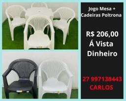 Mesa e Cadeira Plástica Poltrona