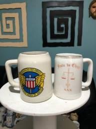 11 canecas de chopp de porcelana da década de70