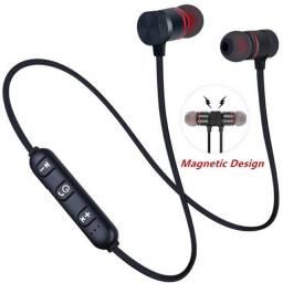 Fone sem fio bluetooth 4.1 preto e vermelho ideal para esporte exercícios academia