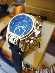 Relógio masculino dourado pulseira de silicone