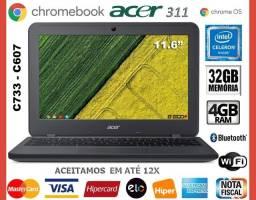 """Chromebook Acer Intel, 4GB, eMMC 32GB, Tela de 11.6"""" Touch, Wi-Fi, Novíss, Gar Troco"""