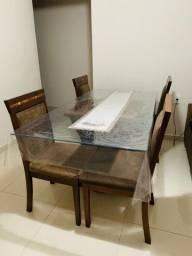 Mesa de Jantar 1800x900 com 6 cadeiras com tampo de vidro 08mm