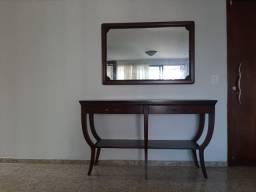 Aparador de madeira maciça (150x49,5x86cm) + Espelho (117x78cm)