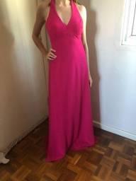Vestido longo cor rosa