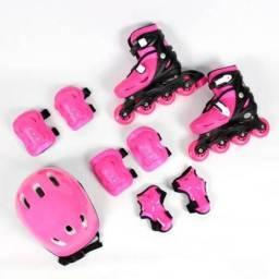 Kit Patins Roller com proteção - rosa