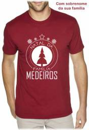 Camiseta Cores Algodão para Natal Estampa Personalizada Nome da Família - Mínimo 10 peças