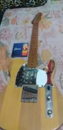Guitarra tele caster fender ja com a corda elixir