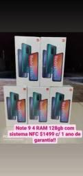 Note 9 4 RAM 128gb novos lacrados originais com garantia de 1 ano