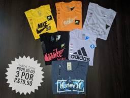 Kit 3 camisetas por R$79,90 - Promoção - Fazemos entrega