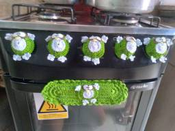 Conjunto de botao de fogão de croche