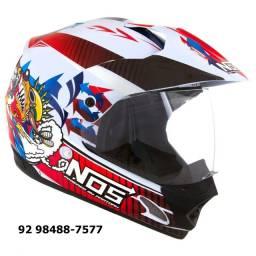 Capacete Motocross NOS Vision Branco- Tamanho 60