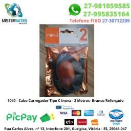 1040 - Cabo Carregador Tipo C Inova - 2 Metros- Branco Reforçado