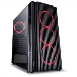 gabinete atmos preto com 4 fans 120mm led vermelho em - vidro temperado