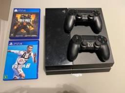 Console Ps4 Slim 500gb Com 2 Controles + 2 Jogos