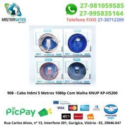 908 - Cabo Hdmi 5 Metros 1080p Com Malha KNuP KP-H5200<br><br>