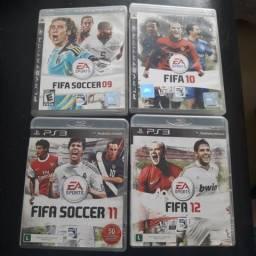 Lote com 4 jogos Fifa e Fifa Soccer Play Station 3