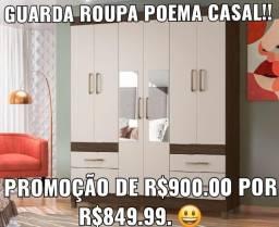 Guarda Roupa Casal! Promoção de R$900.00 por apenas R$849.99. ENTREGA E MONTAGEM GRÁTIS!!