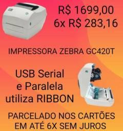 Impressora de Etiqueta Zebra GC 420T USB com Ribbon NOVA