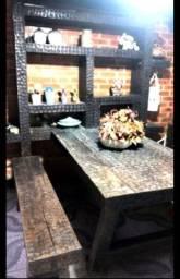 Estante,mesa acoplada e dois bancos