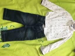 Calça jeans e blusa social 1ano
