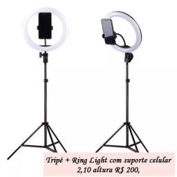 Tripé + Ring Light com suporte