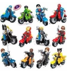 Super herois lego, hulk, robin, batman, super homem capitão america , etc