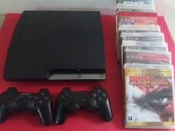 Sony Playstation 3 Slim 02 Controles + 8 Jogos + 6 Brindes