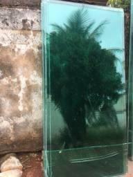 Porta de correr duas folhas para vão 2 mt largura e 2.25 altura vidro verde 8mm
