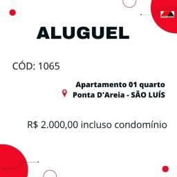 CÓD: 1065 Apartamento de 01 quarto mobiliado na Ponta D'Areia
