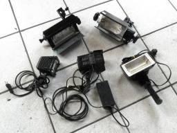 Lote Com 5 Iluminadores Para Foto Video Halogena E Led