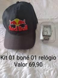 Kit 01 boné 01 relógio masculino