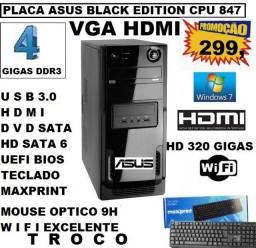 Computador T.O.P Asus Vga Hdmi 4 Gigas Ddr3 Hd 320 Dvd Usb 3.0 Wifi Super Rapido