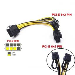Cabo Y PCI-e 8 pinos para 2x8(6+2) pinos placa de vídeo