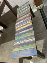 Banco ripado madeira natural