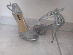 Sandália Coroa Prata com Brilho
