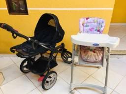 Carrinho de Bebê High Trek Bebê Conforto + Cadeira de Alimentação