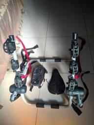 Suporte veicular para 3 bicicletas + case porta objetos + capa para banco de silicone