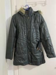 Jaqueta comprida grossa impermeável com capuz removível
