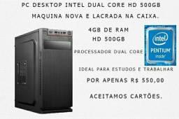 Pc deskto lacrado dual core HD 500gb loja fisica
