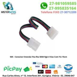 505 - Conector Emenda Fita-fita 5050 Rgb 4 Vias Com Fio 15cm