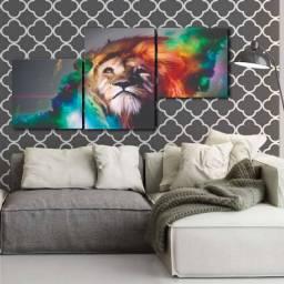 Quadro Decorativo Leão Colorido 78cm Largura x 38cm Altura