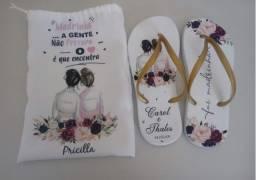 Chinelos Personalizados Casamento Lembrancinhas + Saquinhos