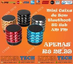Mini caixa de som bluethoot am/fm usb sd