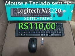 Mouse e Teclado Sem Fio Logitech MK220