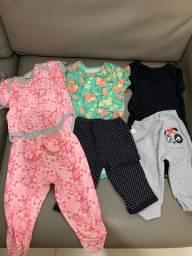 Conjuntos body e mijões bebê menina Lote