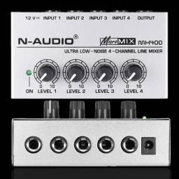 Mixer N Audio 4 Canais - Micro Mesa Com Fonte Energia Mx400