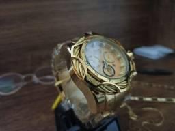 Relógio masculino invicta dourado novo