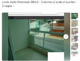 Lindo Apto Mobiliado 98m2 - 3 dorms c/ suite c/ quintal - 2 vagas -